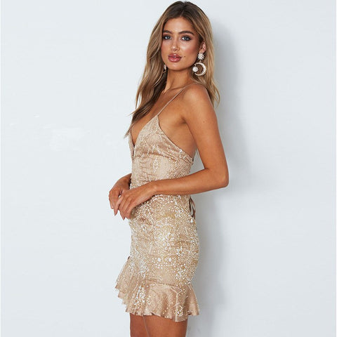 Strap Backless Deep V neck Ruffles Sequin Party Mini Dress
