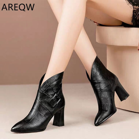 Leather V-Neck High Heels Ankle Shoes Boots SE