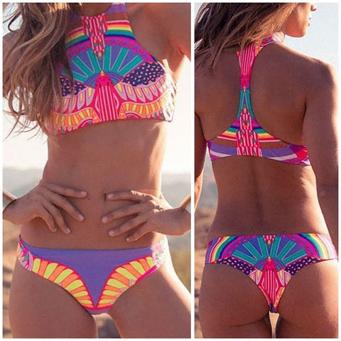Bikini High Neck Halter Slim Vintage