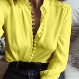 Neck Long Sleeve Buttons Down Blouse