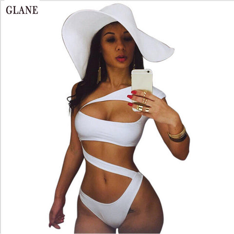 White Off Shoulder One Piece Swimsuit