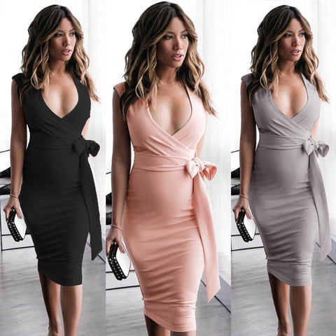 V neck Bow Bodycon Midi Dress SE