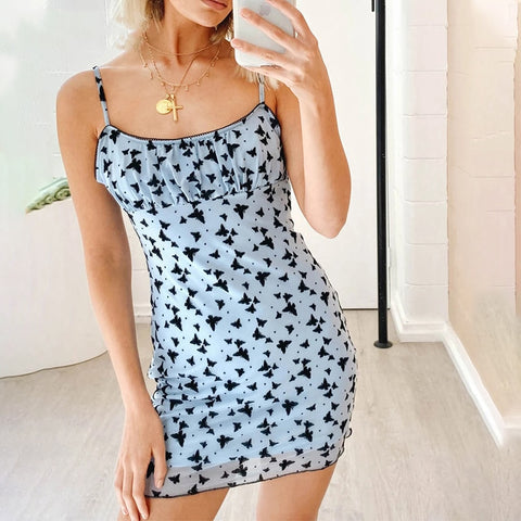 ruched backless animal tulle mesh butterfly print blue mini dress SE