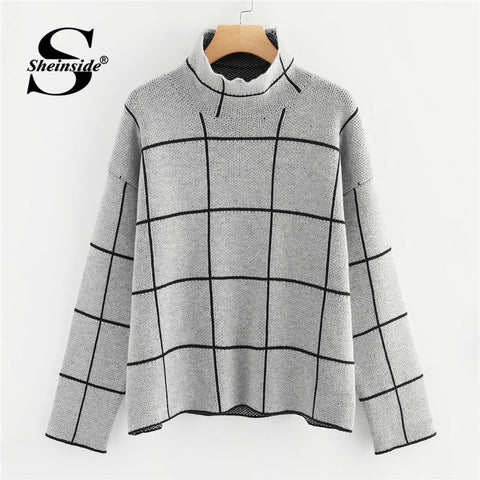 5b9fd62b High Neck Long Sleeve Pullover Knitted Sweaters PU22