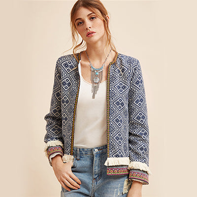 Jacket Blue Vintage Fringe Tape Trim Women Autumn Coat