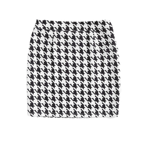 Zip Side Houndstooth Mini Skirt