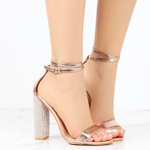 Rhinestone Sequin Ankle Strap Sandals High Square Heels SE