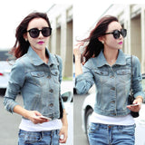 Jacket Women Casual Blue Slim Pockets Button Single Breasted Female Jeans