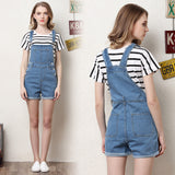 Short denim overalls