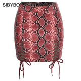 Snake Skin Print Lace Up Mini Skirt PU22