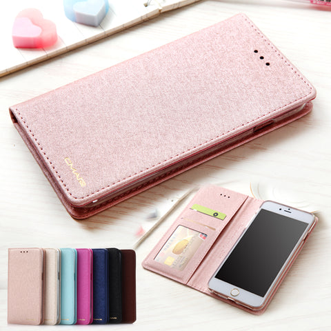 Silk Leather Wallet Case For iPhone 6 6S 7 8 Plus iphone x 5 5s se Phone Cover With Magnetic Stand Card Holder Flip Coque