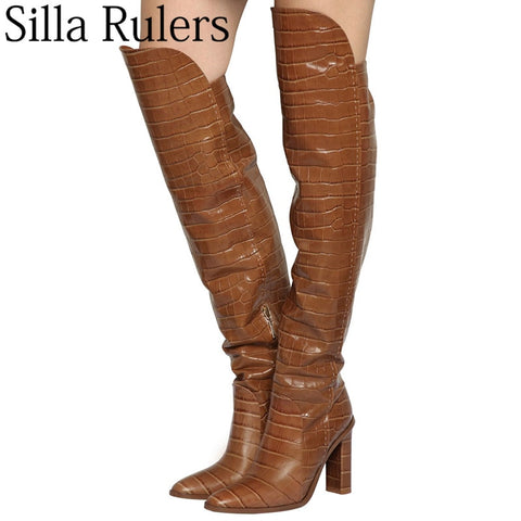 pointed toe Crocodile over knee high boots RI