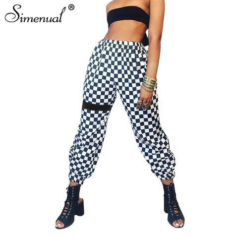 athleisure plaid trousers joggers streetwear PU22