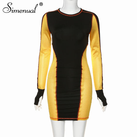 Patchwork Long Sleeve Color Blocking Dress RI