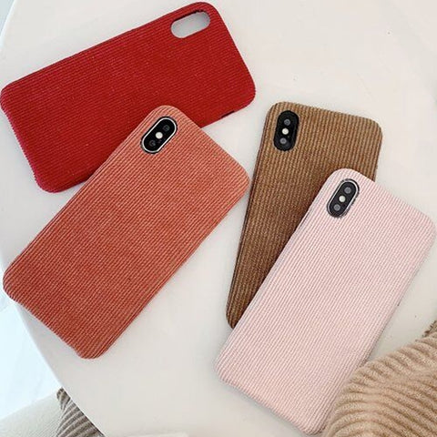 Simple Cloth Texture Winter Corduroy Fabrics Phone Case SE