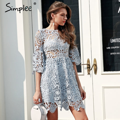 91bccef2614 out blue lace dress Flare sleeve pleated short PU22
