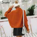 turtleneck hollow out knitted sweaters RI
