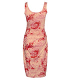 rose red floral sleeveless square neck bodycon dress SE