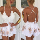 Sling Lace Spliced Playsuit Sleeveless Flower Print Backless V Neck Jumpsuit