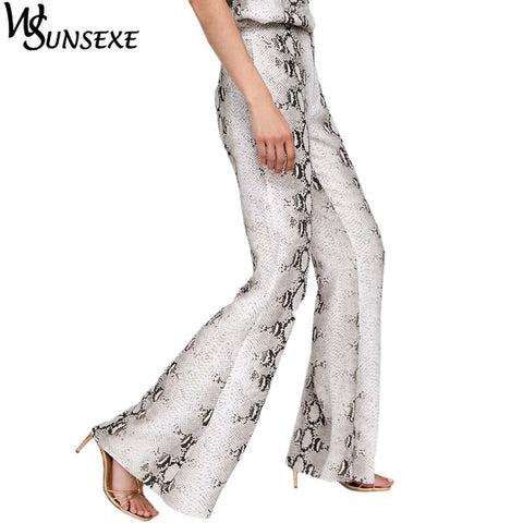 Snake Printed Stretch Trousers Flare Wide Leg Pants SE