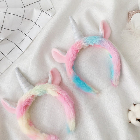 Rainbow Unicorn Hair Hoop Plush Toy Hair Headband Hat SE