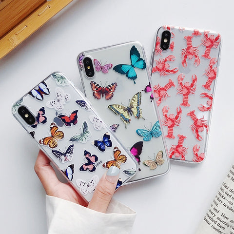 Simple Cute Butterfly Lobster Phone Case SE