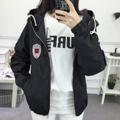 Jackets with Hat Long Sleeve Women Basic Coats Zipper