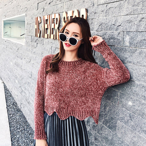 korean style long sleeve casual crop sweater