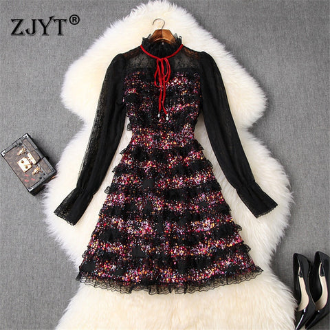 Long Sleeve Transparent Lace Patchwork Sequin Mini Dress SE