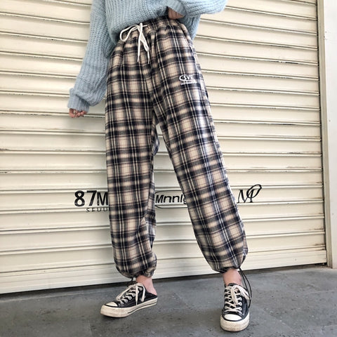 Loose Letter Embroidery Plaid Casual Pants SE