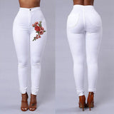Spring Women Stretch Fabric High Waist Skinny Embroidery Pants