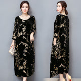 dress women round neck vintage velvet long maxi loose