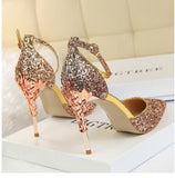 gold silver sequins high heels SE