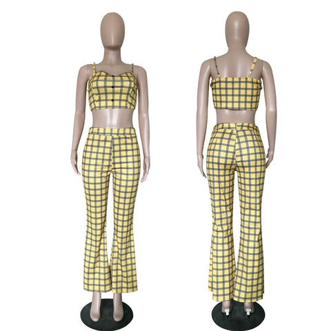 c1b276867d35 Flare pant Yellow Plaid Overalls two pieces Jumpsuit SE – deevybuy