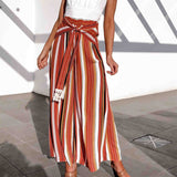 casual lace up high waist striped orange wide leg pants SE