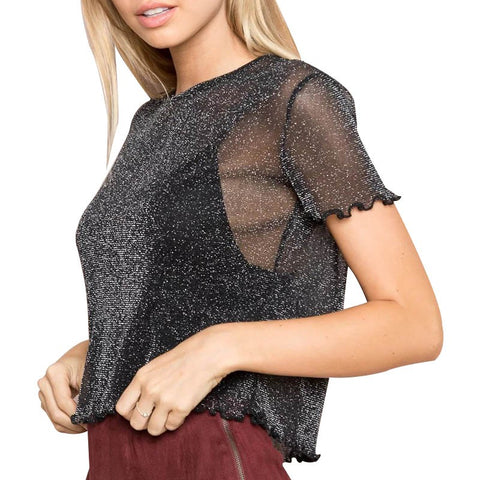 Super Sheer Mesh Glitter Tops Ruffled Short Sleeve Crop Top