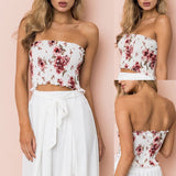 Seamless  floral ruched tank top
