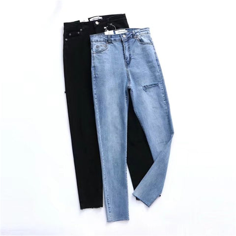 9bf7c5d77f8 denim high waist hole ripped jeans capris Pants