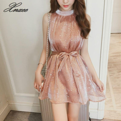 Halter Sleeveless Chiffon Sequin Lace Up Tie A-Line Dress SE