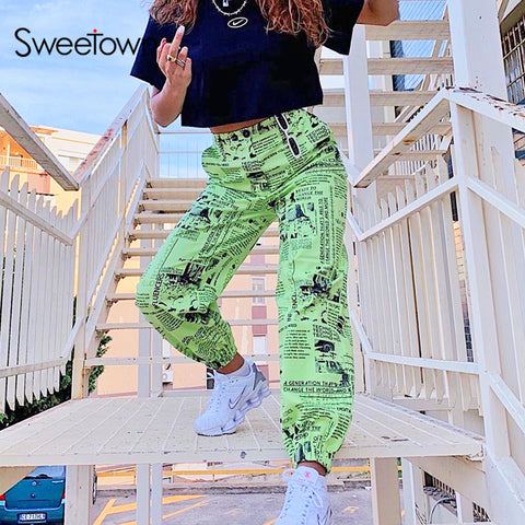 High Waisted Print Cargo Pants RI