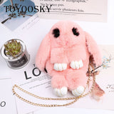 Fluffy Rabbit Crossbody Fur Pompoms Chain Cartoon Bunny Sling Bag SE