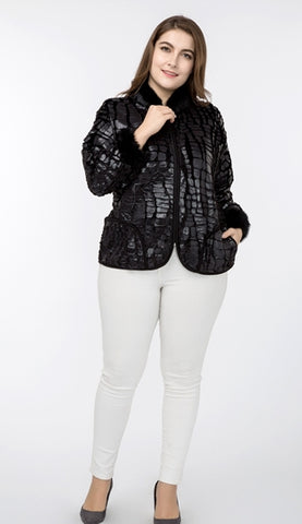 Jackets Stand Collar Patchwork Sleeve