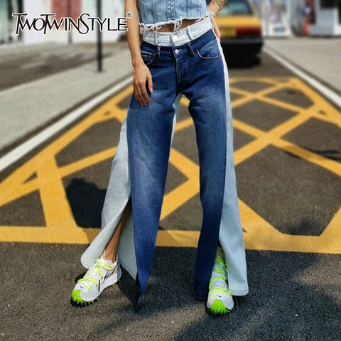 Hit Color Front Split Jeans Pocket Patchwork Denim Pants SE