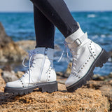Metal Buckle Rivets Gothic Lace Up Platform Ankle Boots SE