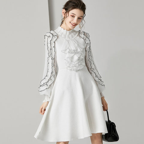 White Vintage Long Sleeve Ruffle Evening Mini Dress SE