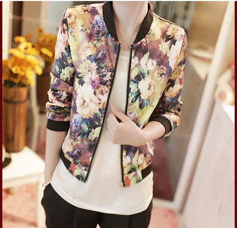 Jacket Women Stand Collar Long Sleeve Zipper Floral Printed Bomber