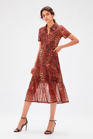 Brown Short Sleeve Leopard Pattern Tulle Knit Dress SE