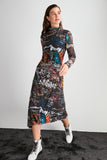 Long Sleeve Pattern Tulle Knit Print Dress SE