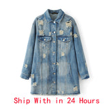 Jacket Coat Spring Long Ripped Denim Jacket Women Plus Size Jeans