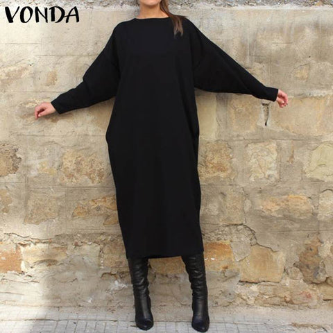 Tunics Round Neck Long Sleeve Shirt Dress RI